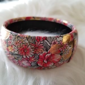"Vtg Bangle Bracelet Gold Pink Floral 3"" diameter"